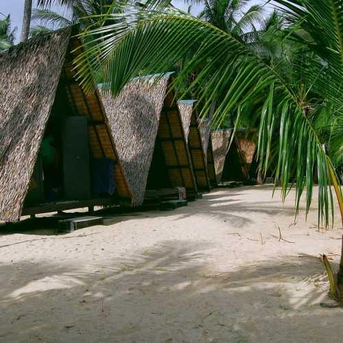 Пальмовые бунгало на берегу моря на острове Самуи.