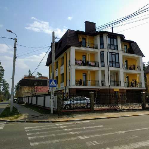 the intersection of Ukrainian street and Pushkinskaya street (Irpin, Ukraine)