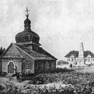 Полтава. Спасская деревянная церковь на старой открытке