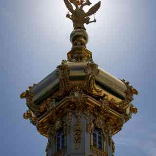 The russian national symbol, a double headed eagle, in gold in Peterhof, St. Petersburg, Russia