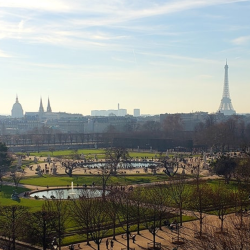 Paris.<br/> Tuileries Gardens, Eifel Tower.<br/> View from Regina Louvre Hotel.
