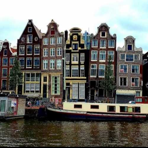 Leaning Houses. Amstel River. Amsterdam
