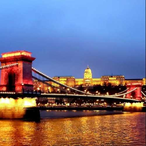 Buda Castle. Chain Bridge. Danube River. Budapest.