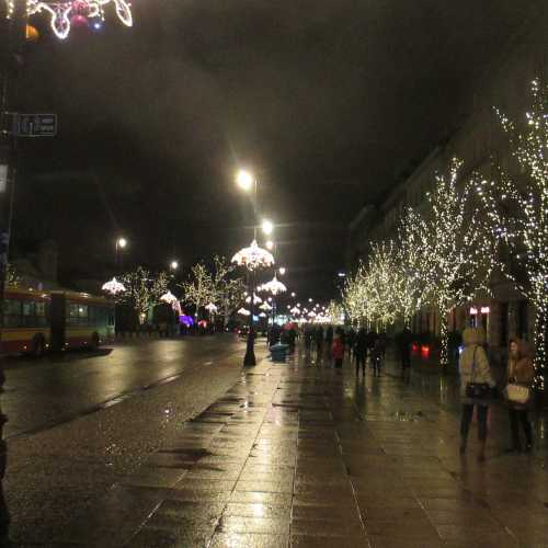 Варшава. Улица Краковское предместье вечером (03.01.2015)