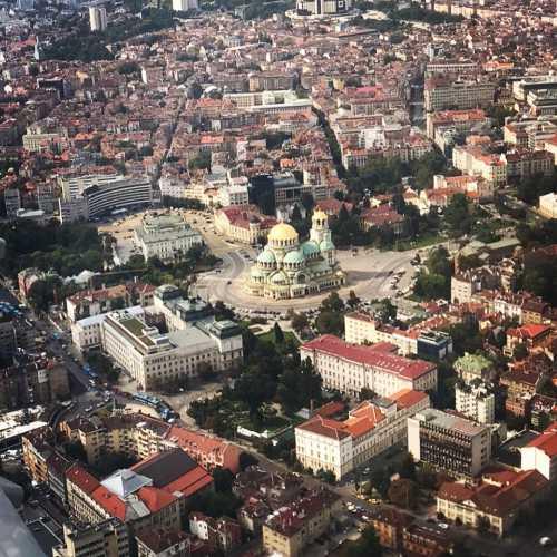 Вид с самолёта на город