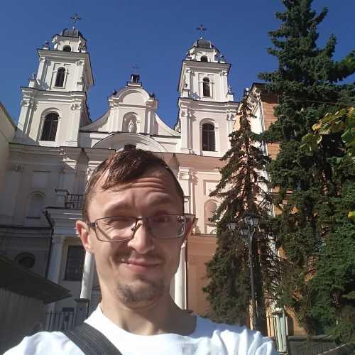 Я у костела в столице Беларуси, август 2019 г.