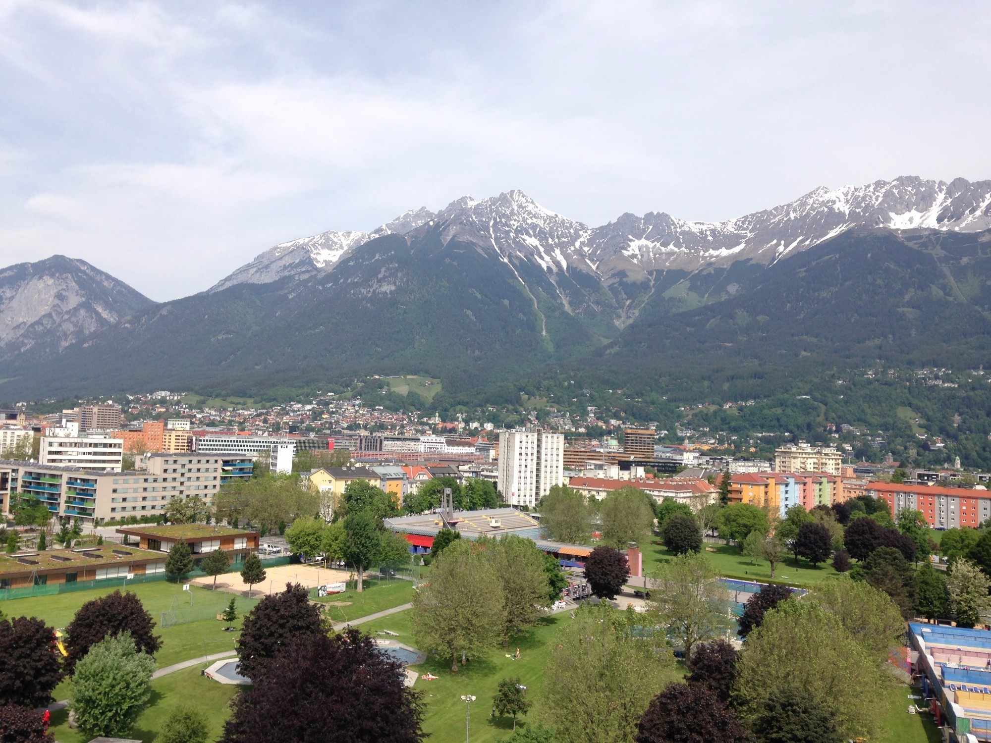 View of Innsbruck from the top of Ramada Innsbruck Tivoli Hotel.