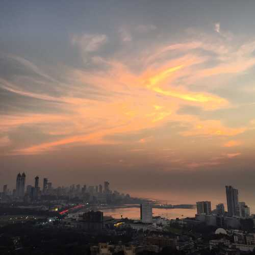Wonderful sunset in South Mumbai. View from the roof of Four Seasons Hotel