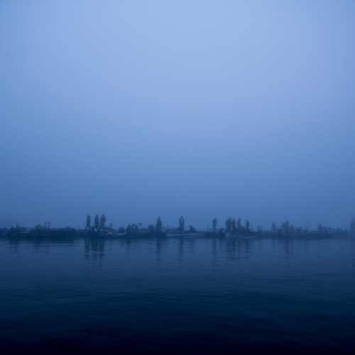 Астрахань. Волга при сильном тумане