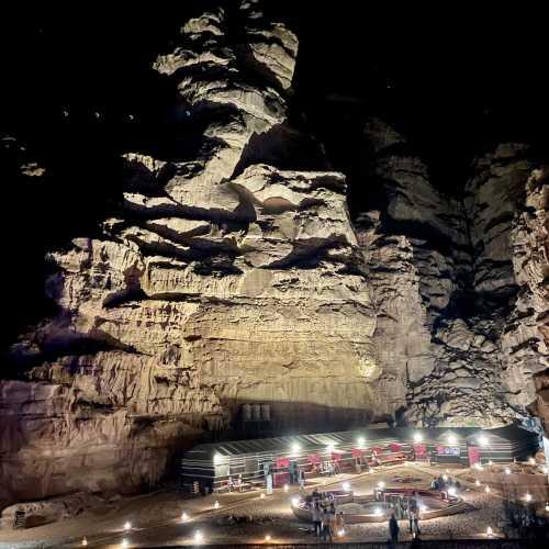 Wadi Rum Bedouin camp at night